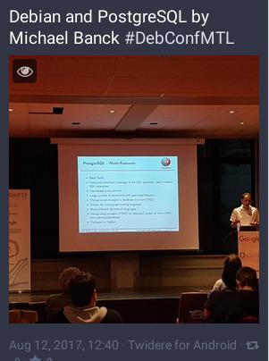 DebConf1è: conférence PostgreSQL et Debian